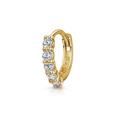 14k yellow solid gold white crystal huggie hoop earring