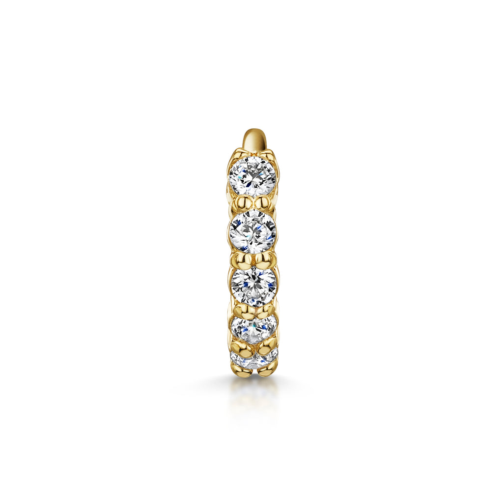 14k yellow solid gold mini white crystal huggie earring - LAURA BOND jewellery