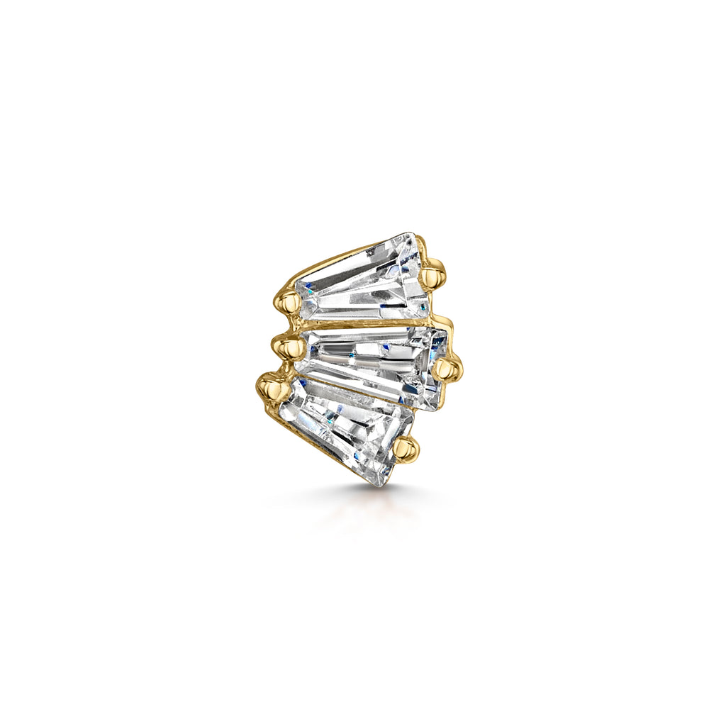 9k solid yellow gold crystal fan flat back labret stud - LAURA BOND jewellery