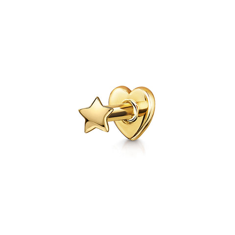 9k yellow solid gold trinity crystal flat back stud earring