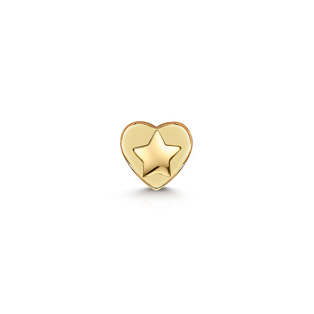 9k solid yellow gold tiny star flat back labret stud - LAURA BOND jewellery