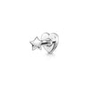 9k solid white gold tear drop crystal flat back labret stud