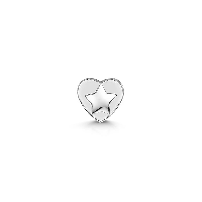 9k solid white gold tiny star flat back labret stud - LAURA BOND jewellery