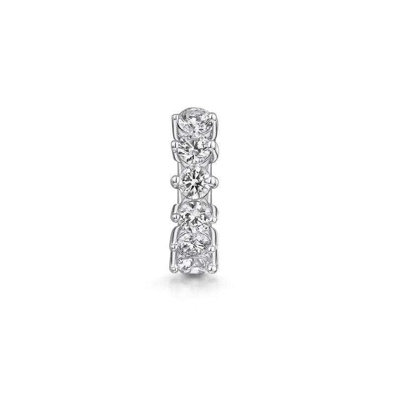 14k white solid gold five-stone crystal teeny tiny huggie earring - LAURA BOND jewellery