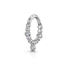 9k white solid gold boho beaded crystal charm huggie hoop earring - LAURA BOND jewellery