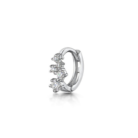9k solid white gold abstract crystal huggie hoop