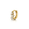14k yellow solid gold five-stone crystal teeny tiny hoop earring