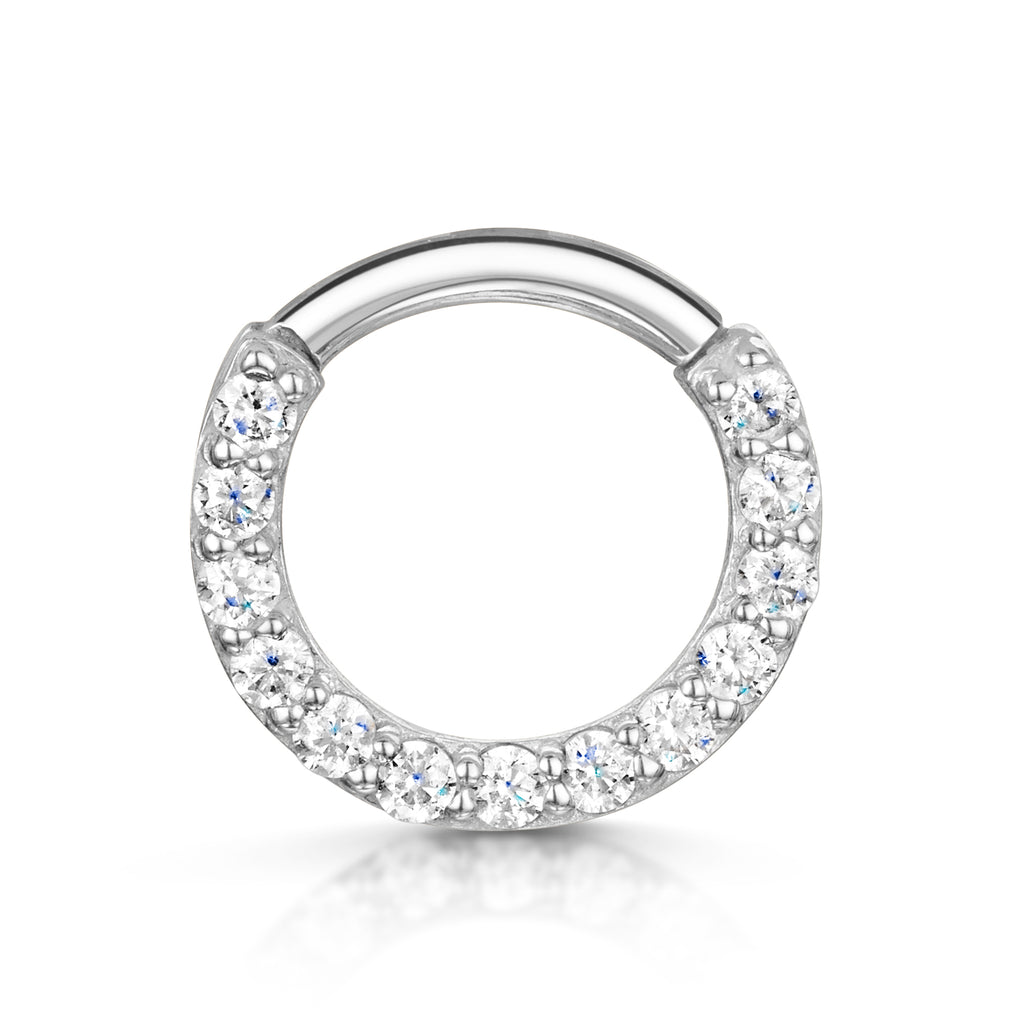 9k white solid gold front facing crystal hoop earring for daith or septum - LAURA BOND jewellery