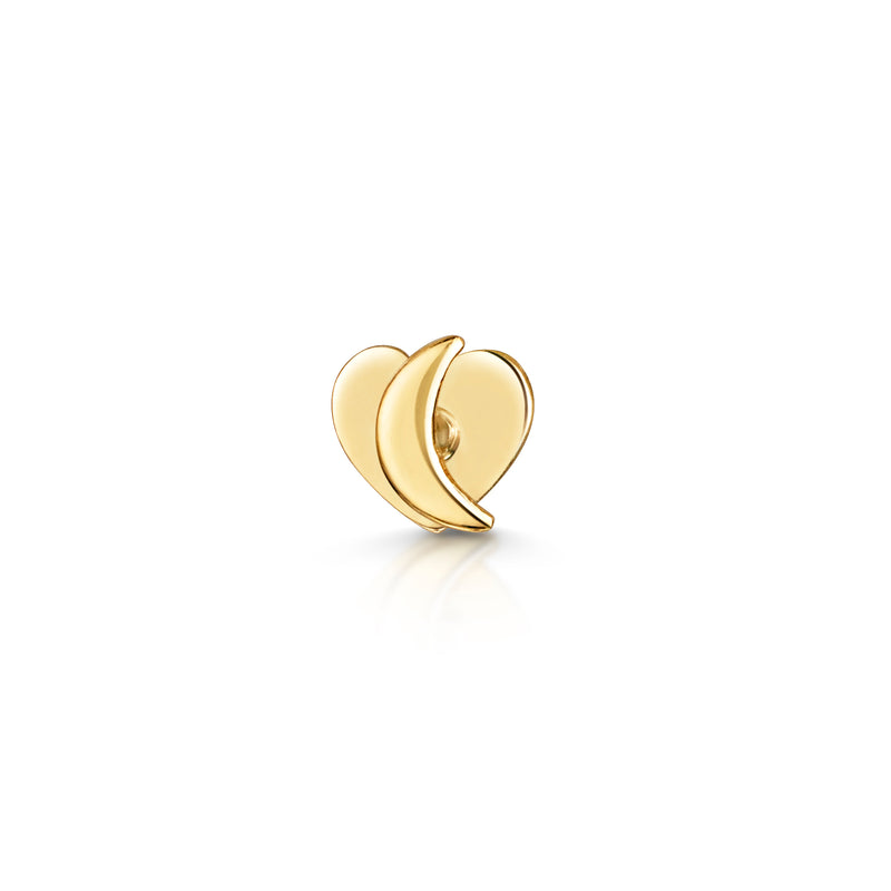 9k yellow solid gold tiny moon labret stud cartilage earring - LAURA BOND jewellery