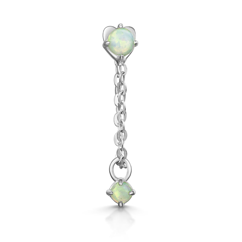 9k white solid gold opal chain stud earring - LAURA BOND jewellery