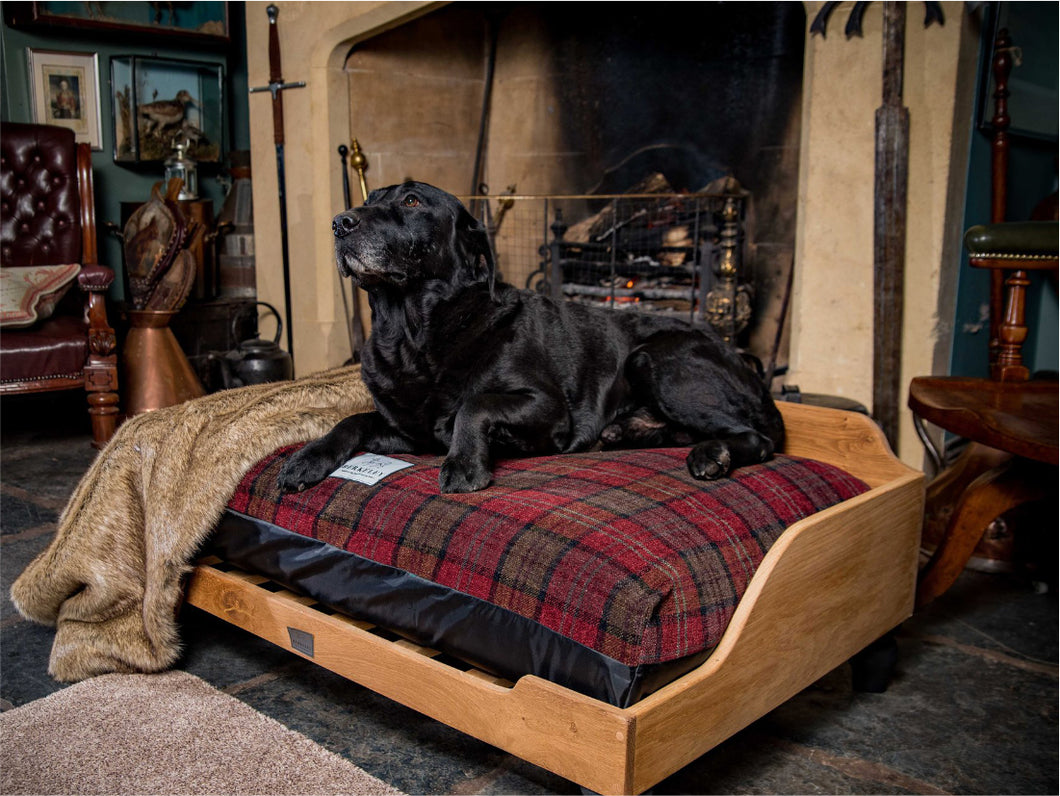 Luxury Dog Bed fitted with Red Tartan Fabric Cover by Berkeley