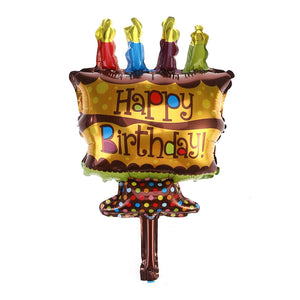Happy Birthday Foil Mylar Balloons Cake Candle Design For Baby Kids Children Adults Party Decoration