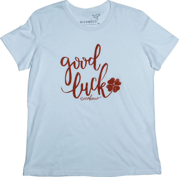 Camiseta Nicoboco Feminino Tshirt Good Luck.