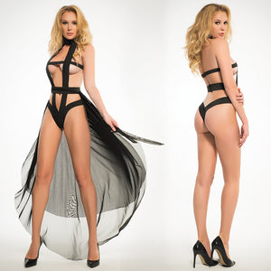 Adore Skye Teddy With Sheer Skirt-Black Small