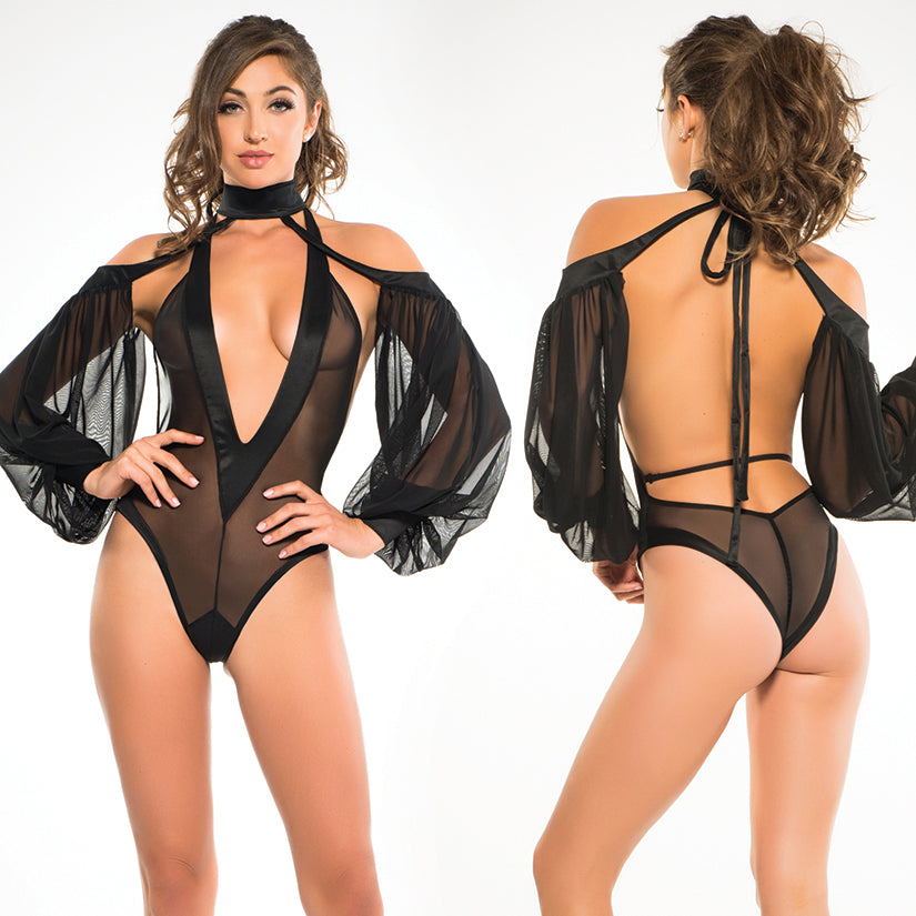 Adore Tia Bodysuit With V-Neck & Sheer Sleeves-Black L