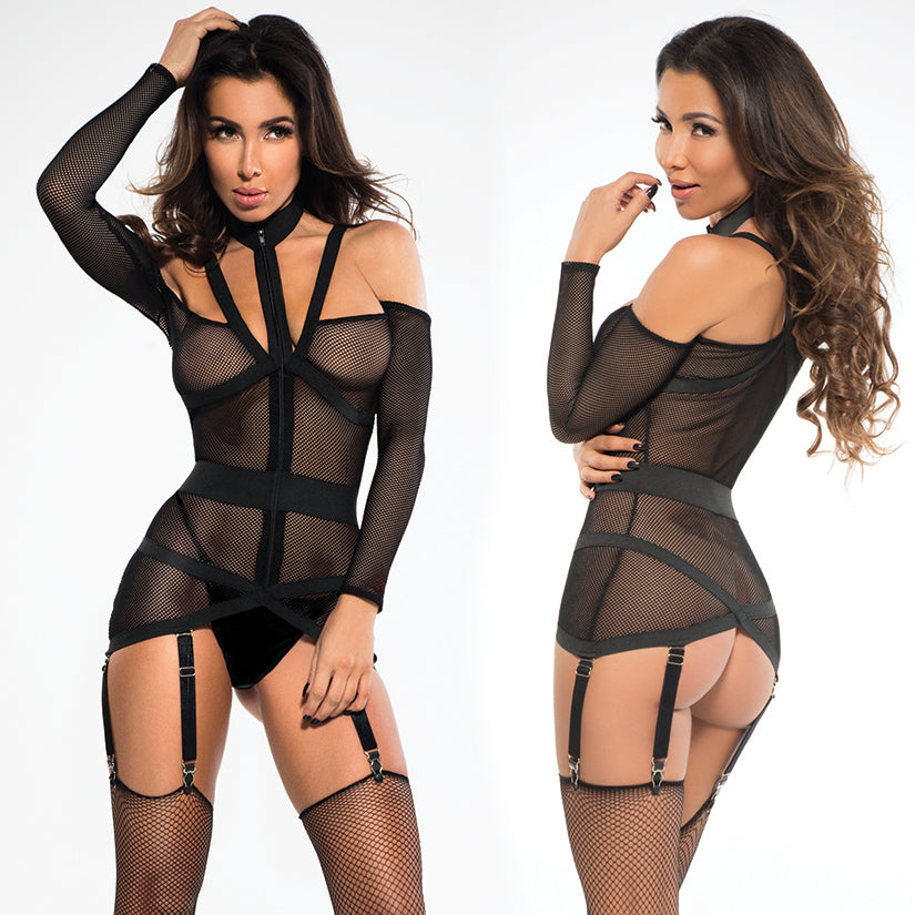 Adore Chloe Fishnet Corselette With Garters-Black Small
