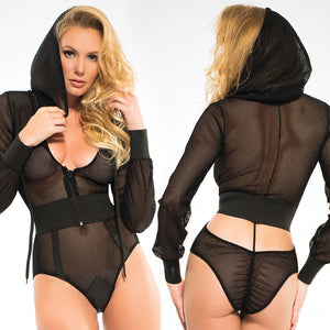 Adore Chloe Fishnet Bodysuit With Hoody-Black Large