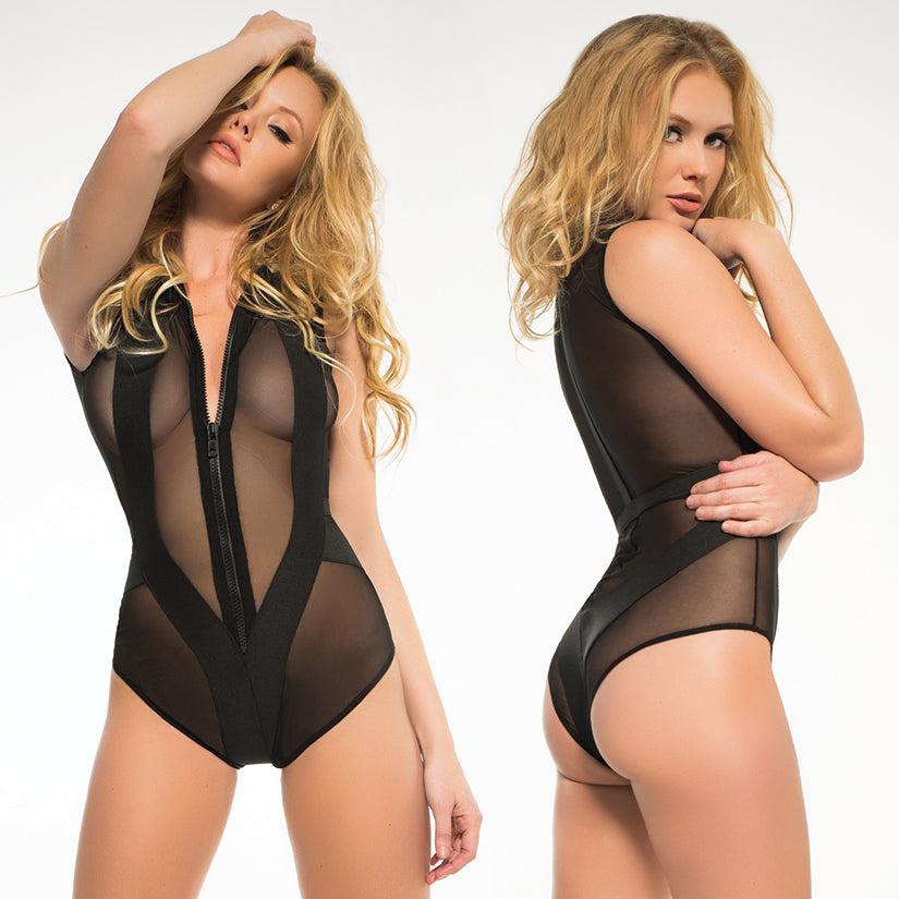 Adore Skye Sheer Sleeveless Bodysuit-Black Medium