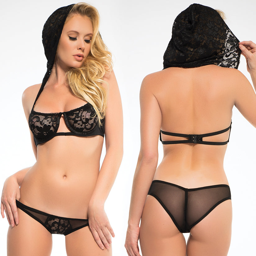 Adore Chloe Hooded Lace Bra & Panty Set-Black Small