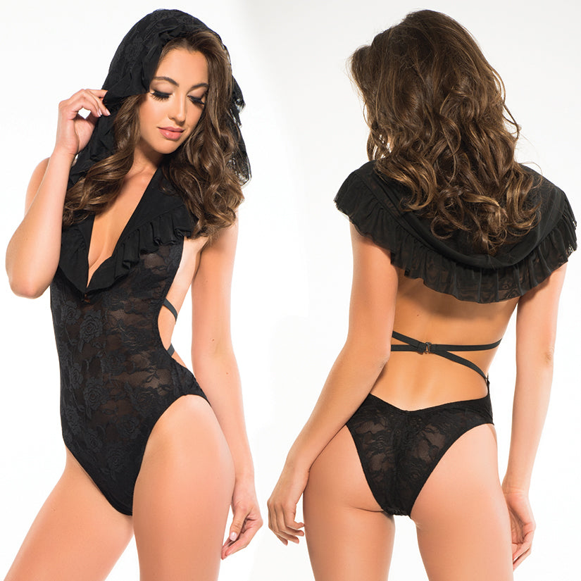 Adore Chloe Lace Bodysuit-Black Medium