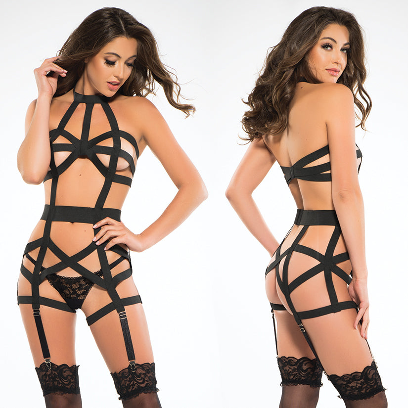 Adore Leia Corselette With Garthers-Black Small