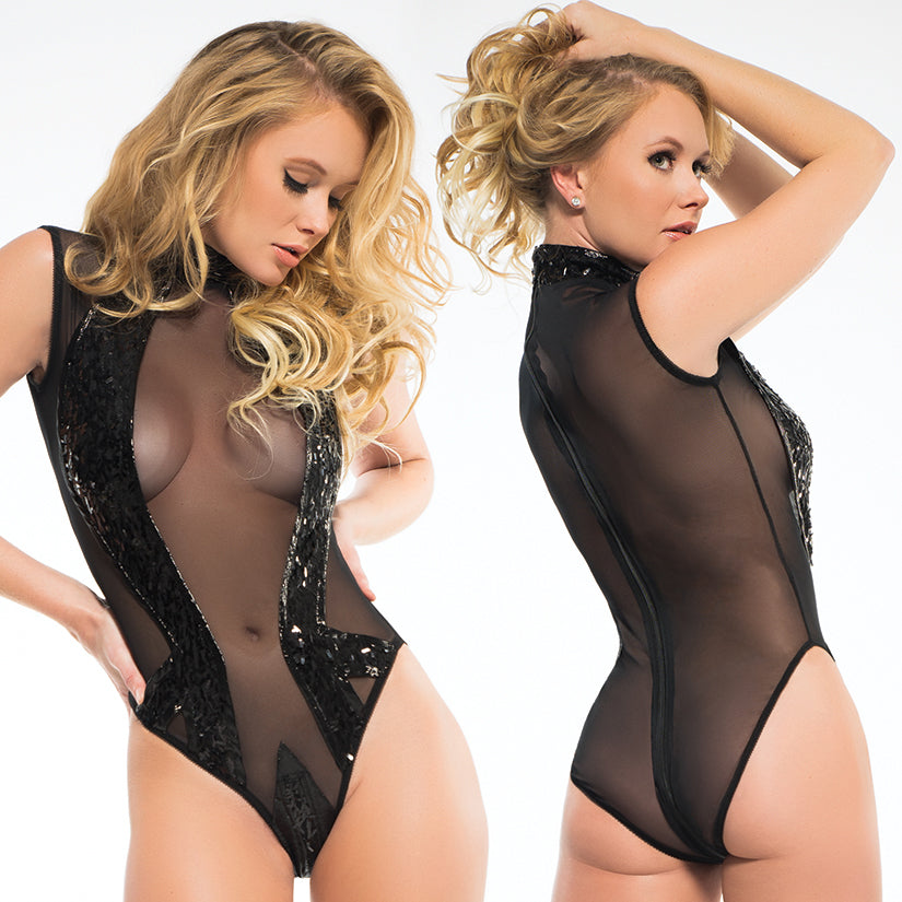 Adore Coco Sleeveless Sequins & Sheer Bodysuit-Black M