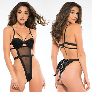 Adore Skye Teddy With Ribbon Back-Black Medium
