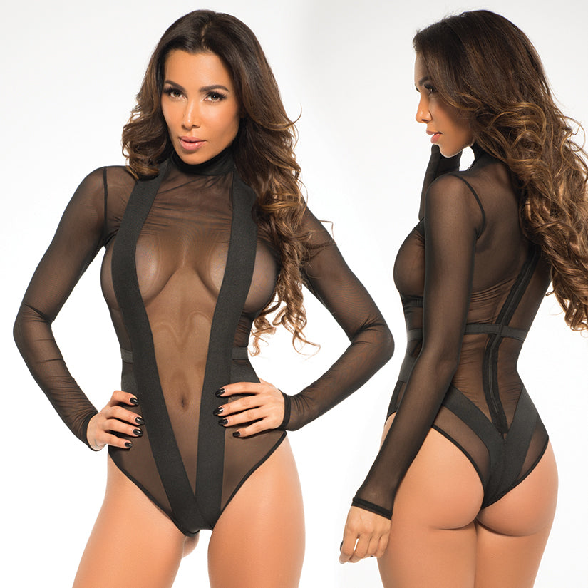 Adore Skye Sheer Bodysuit With V Shape-Black Large