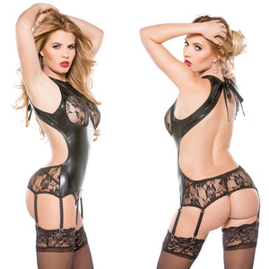 Kitten Wet Look Corset Top-Black O/S