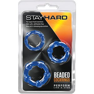 Stay Hard Beaded Cockrings-Blue (3 Pack)