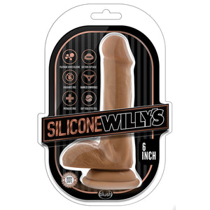 Silicone Willy's - 6 Inch Silicone Dildo With Balls - Mocha