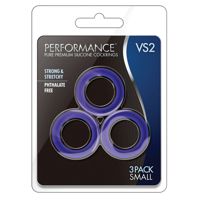 Performance - Vs2 Pure Premium Silicone Cockrings - Small - Indigo