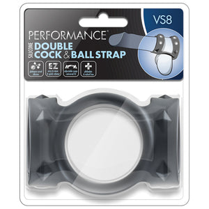 Performance - Vs8 - Silicone Double Cock & Ball Strap - Black