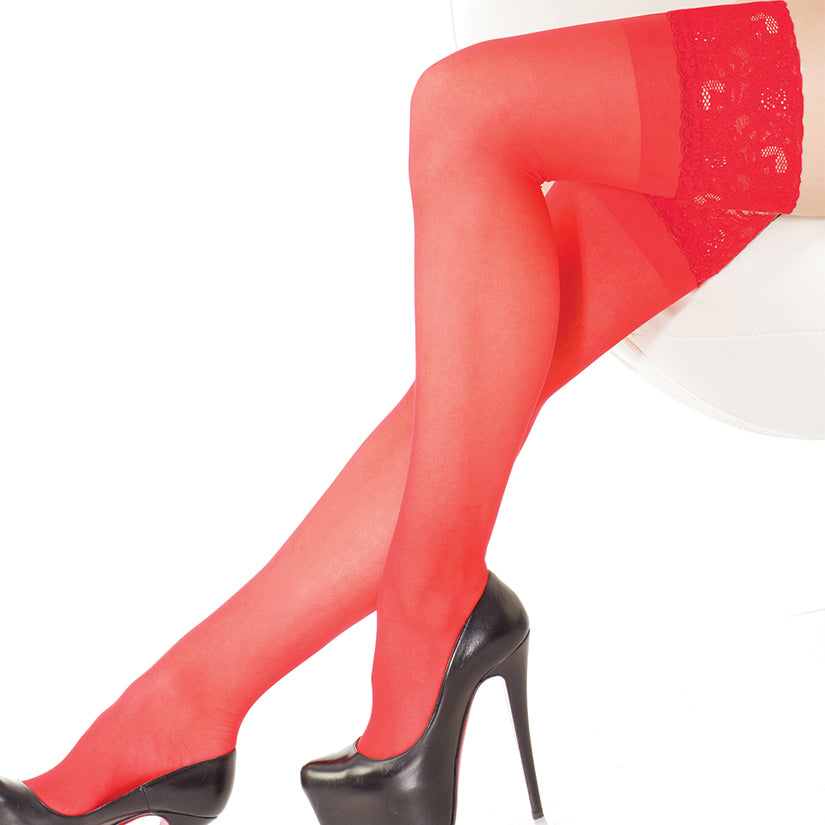 Coquette Thigh High Sheer Stay Up Stockings-Red O/S