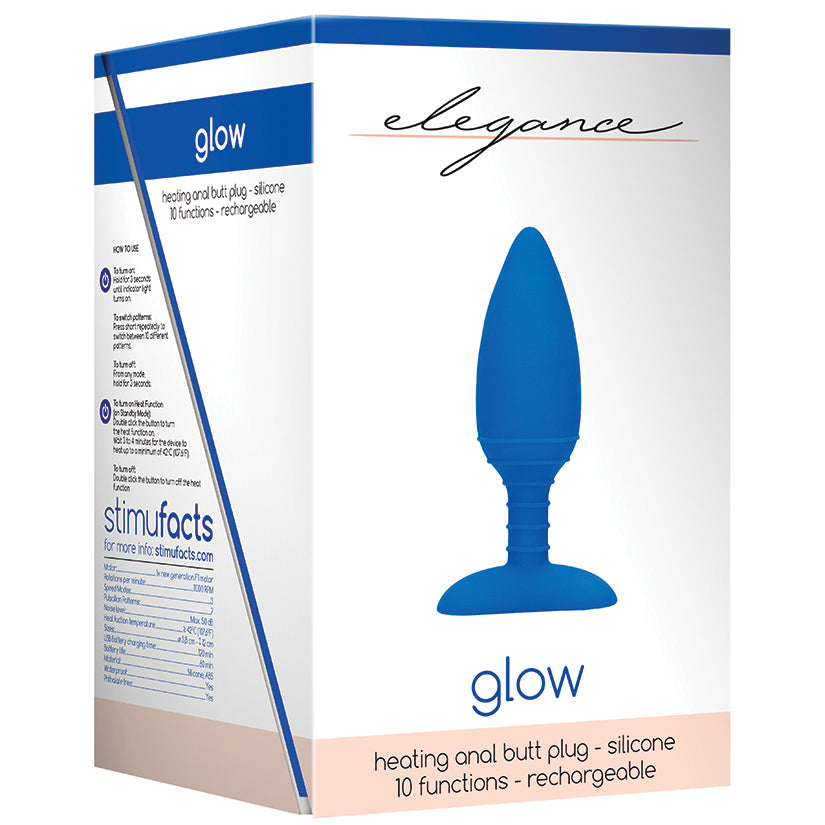 Elegance Glow Heating Anal Butt Plug-Blue