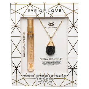 Eye Of Love 2pc Set Necklace Drop Gold with Parfume