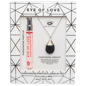 Eye Of Love 2pc Set Necklace Drop Silver with Parfume
