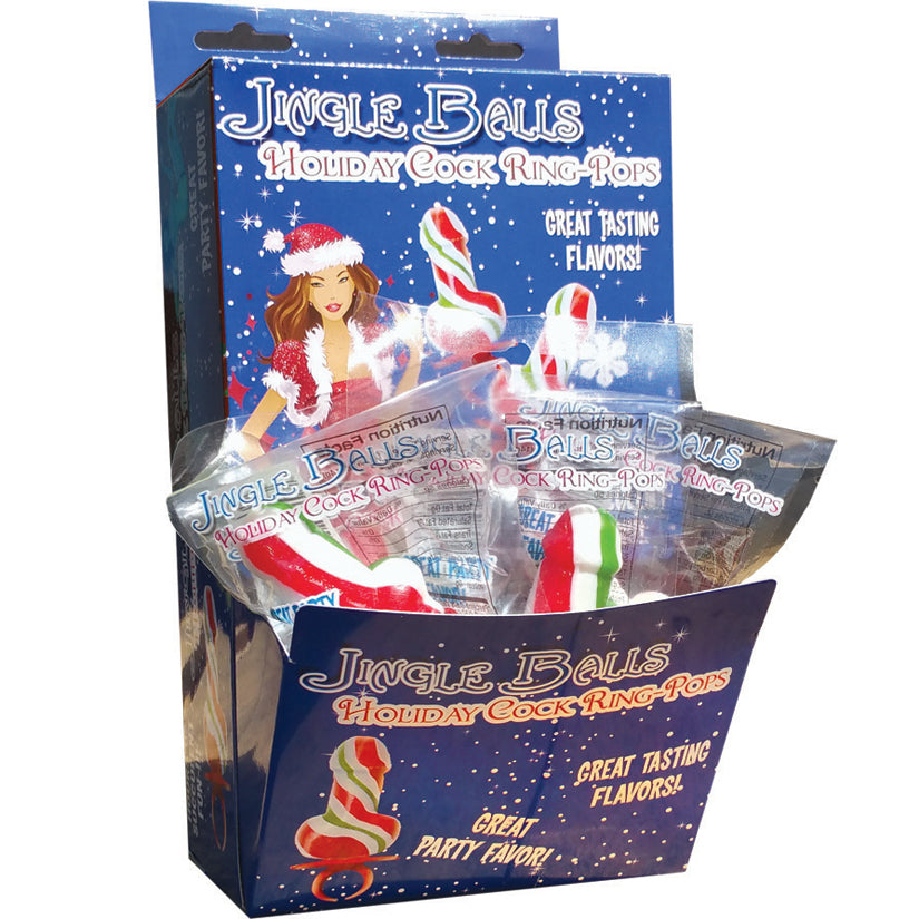 Jingle Balls Holiday Cock Ring Pop - 12 Piece Display