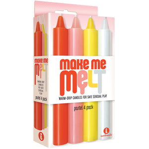 The 9's Make Me Melt Sensual Warm-Drip Candles 4 Pack - Pastel