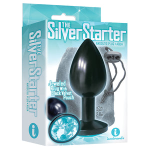The 9's the Silver Starter Anodized Bejeweled Stainless Steel Plug - Aqua