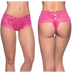 Goodnight Kiss Lace Crotchless Boyshort-Pink 1X/2X