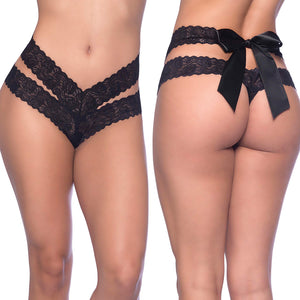 Crotchless Lace Dual Strap Thong-Black O/S X