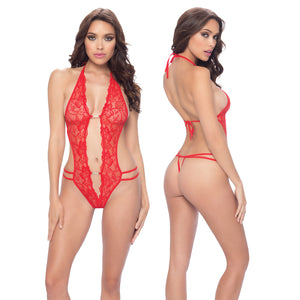 Lace Crotchless Teddy - One Size - Red