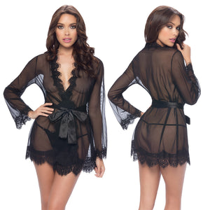 Provence Eyelash Lace Robe With G-String-Black L/XL