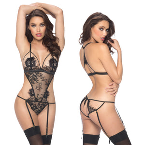 Eyelash Open Back Lace Teddy With Garters-Black L/XL