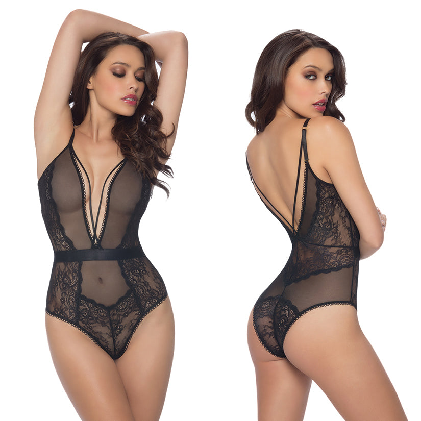 Viviane V-Plunge Lace Teddy With Strap Detail-Black Small