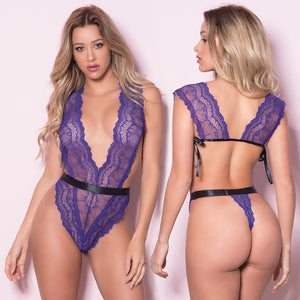 Soft Cup Teddy With Waistband and Thong Back - Purple/ Black - One Size