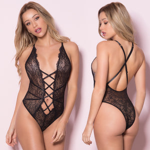 Soft Lace Teddy With Front Lace Up Detail-Black O/S