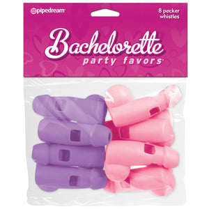 Bachelorette Party Favors 8 Pecker Whistles - Pink and Purple