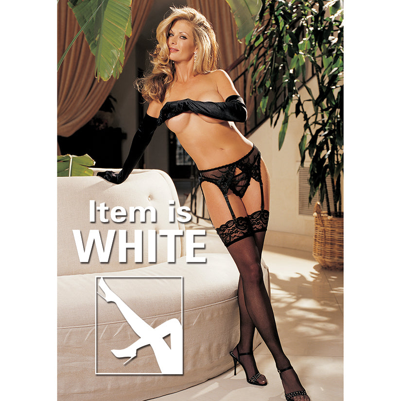 Lace Top Thigh High - One Size - White
